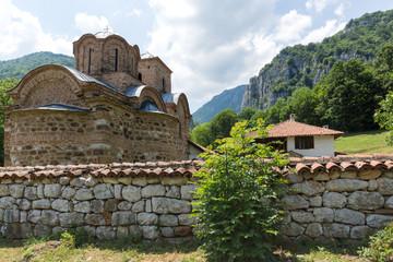 Panoramic view of medieval Poganovo Monastery of St. John the Theologian, Serbia