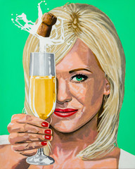 Beautiful young woman holding a glass of champagne