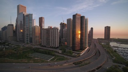 Fototapete - Chicago Drone Sunrise