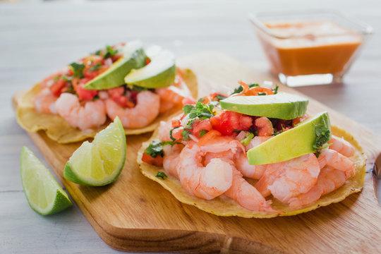 Tostadas de camaron Mexicanas, shrimps tostada, mexican food in mexico, sea foods