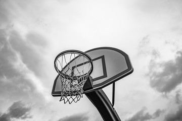 Outdoor Basketball Hoop with small backboard black and white