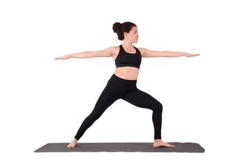Young latin woman doing yoga pose.