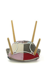 Patchwork Fabric Chair with Wood Legs Bottom View