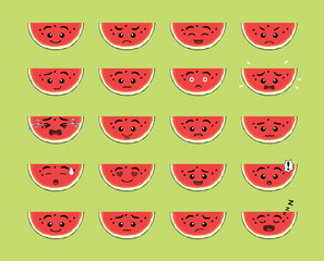 Cute Watermelon Slice Cartoon Emotion faces Vector Illustration