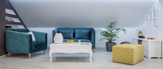 Living room interior, loft apartment, attic renovation