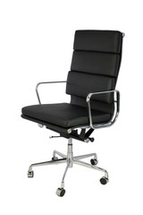 Black Office Chair on Casters Three Quarters View