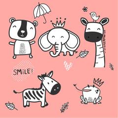 doodle cute wild animal character, zebra, elephant, bear, fog and giraffe on pink background