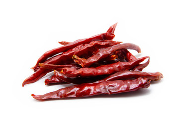 Dried red chili isolated white background