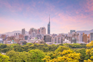 Fukuoka city skyline in Japan Wall mural