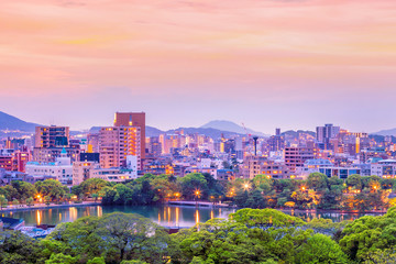 Fukuoka city skyline in Japan