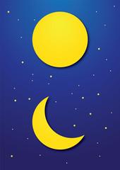 Crescent moon light on twilight sky