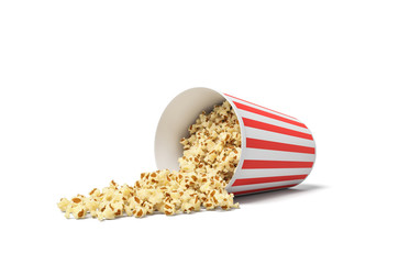 3d rendering of a round striped popcorn bucket lying on its side with popcorn spilling out of it.