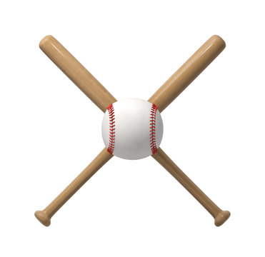 3d rendering of a huge white baseball with red stitches right in the middle of the cross made by two wooden bats.