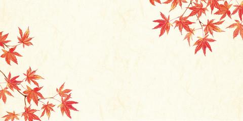 紅葉水彩 和紙背景