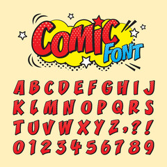 Comic retro font set. Alphabet letters & number in style of comics, pop art for title, headline, poster, comics, or banner design. Cartoon typography collection.