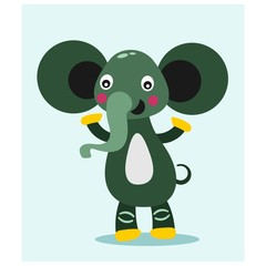 cute funny green elephant mascot cartoon character
