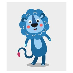 cute funny blue lion mascot cartoon character