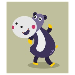 cute chubby fat purple hippopotamus mascot cartoon character