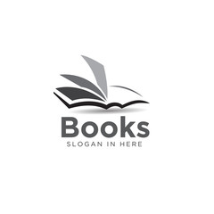 black white book open art logo