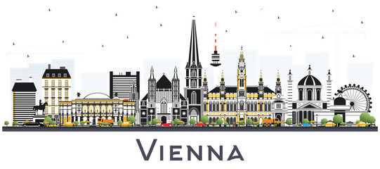 Vienna Austria City Skyline with Color Buildings.