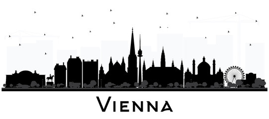 Vienna Austria City Skyline Silhouette with Black Buildings Isolated on White.