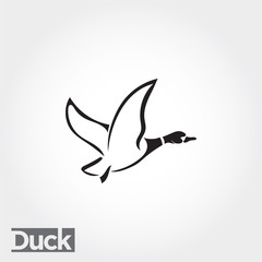 side Flying duck, goose, swan logo art
