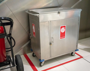 Fire extinguisher and Fire hose reel in  4- wheel stainless steel cabinet