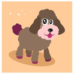 cute little puppy poodle dog mascot cartoon character