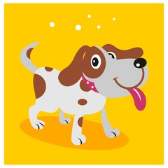 funny happy little dog puppy mascot cartoon character