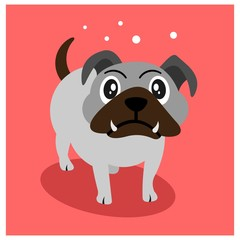 happy cute little puppy bulldog mascot cartoon character