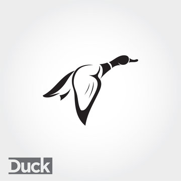 side Flying up duck, goose, swan logo art