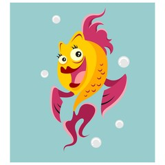 happy friendly goldfish nautical animal mascot cartoon character