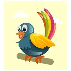 cute little colorful bird mascot cartoon character
