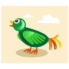 cute little green bird mascot cartoon character