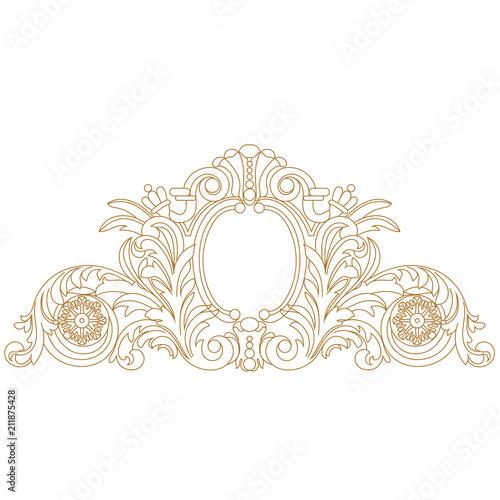 Golden vintage baroque ornament, corner  Retro pattern