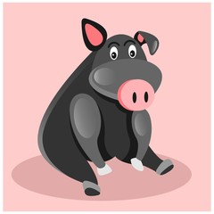fat chubby black pig hog boar mascot cartoon character