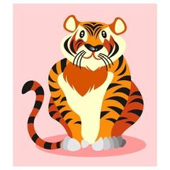 cute funny chubby tiger beast mascot cartoon character