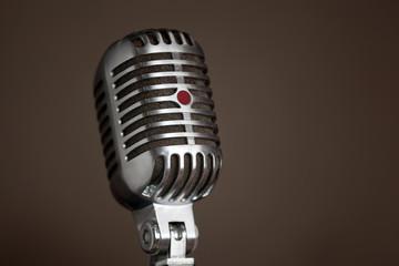 Closeup of legendary retro microphone.