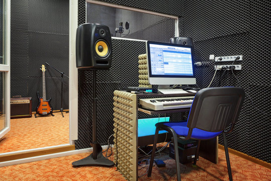 Sound recording studio interior.