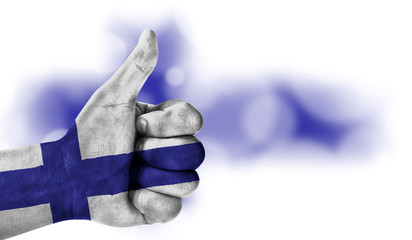 hand thumbs up, flag of Finland.