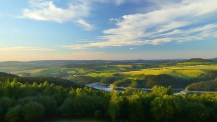 blick vom oberbecken markersbach auf das erzgebirge Fototapete