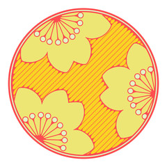 asian style circular drawing with cherry flowers yellow shades