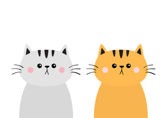 Gray orange red cat sad head face silhouette icon set. Cute cartoon kitty character. Friends Kawaii animal. Funny baby kitten. Love card. Flat design. White background Isolated.