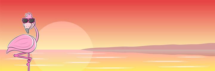 Cartoon Flamingo mit Sonnenbrille vor Sonnenuntergang