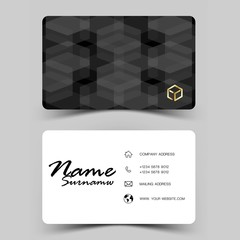 Modern business card design .Inspired by the geometric. Black and white color on gray background.