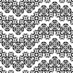 Seamless pattern with american indian style with dotted flowers. Tribal ornament plaid. Navajo background. Textile geo print. Abstract floral ethnic swatch.