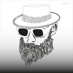A man with a beard with glasses and a hat Image of a black and white head of a man's headdress sunglasses dense beard style hipster stock vector illustration