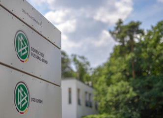 The logo of Germany's DFB football association is seen at it's headquarters in Frankfurt