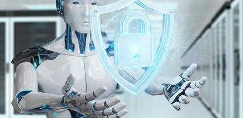 White man humanoid using web security 3D rendering