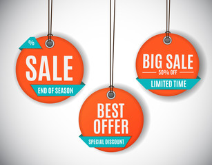 3D Price Sale Label Tags Set. Vector Illustration